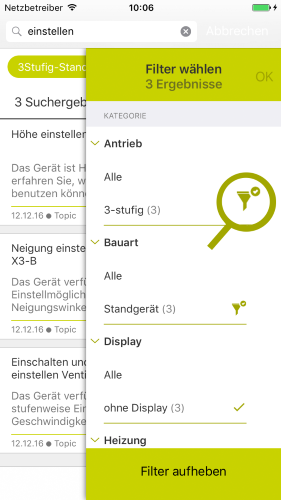 "In the app: continue searching within ""My Filter"""
